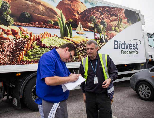Terry Phelps, Bidvest Foodservice driver, on a delivery