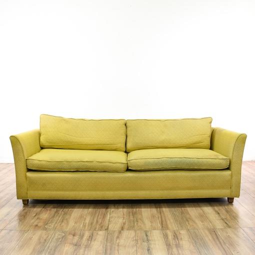 yellow upholstered mid century modern sofa loveseat vintage furniture san diego los angeles