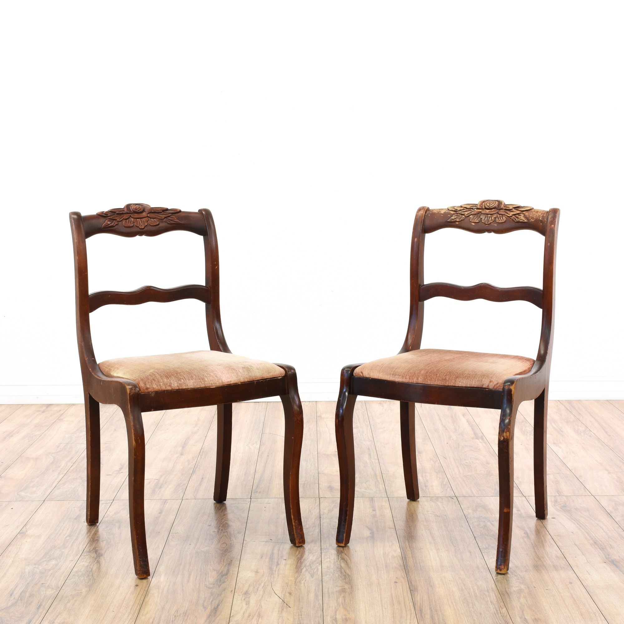 Dining Room Tables San Diego: Pair Of Carved Rose Duncan Phyfe Dining Chairs