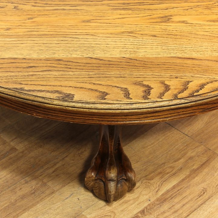 Round Oak Claw & Ball Foot Coffee Table