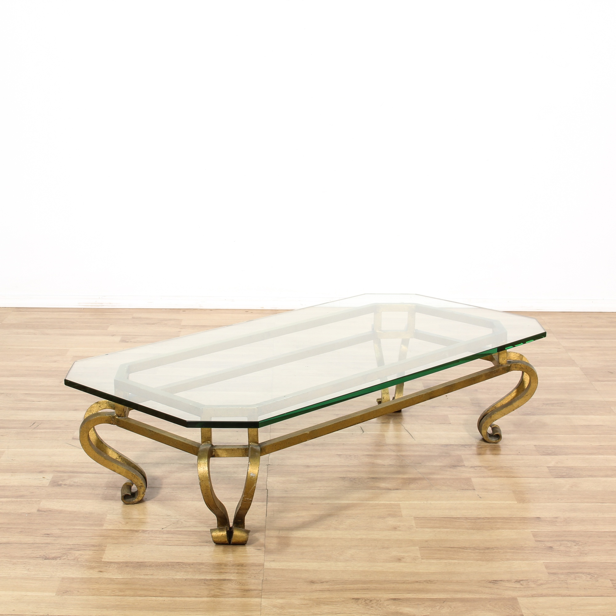 Gold metal frame glass top coffee table loveseat vintage for Metal frame glass coffee table