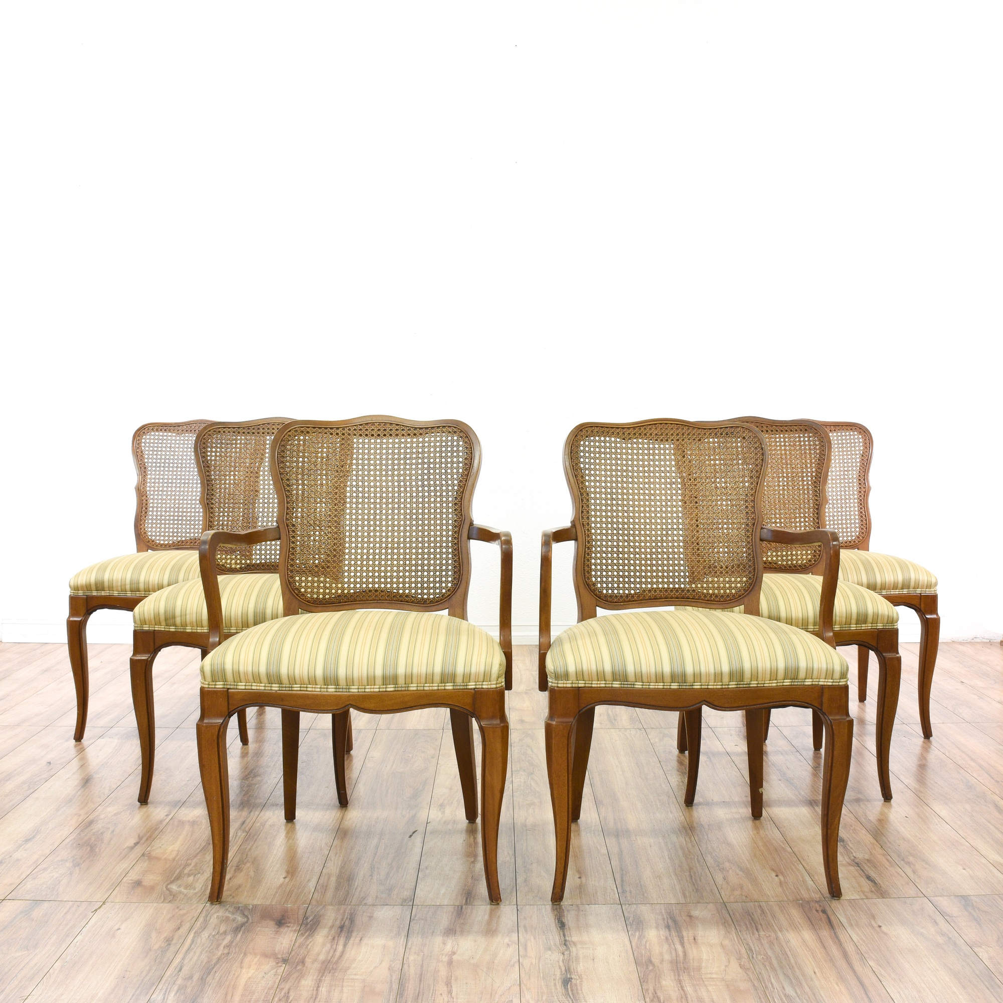 Set Of 6 R Way Striped Upholstered Dining Chairs Loveseat Online Auctions San Diego