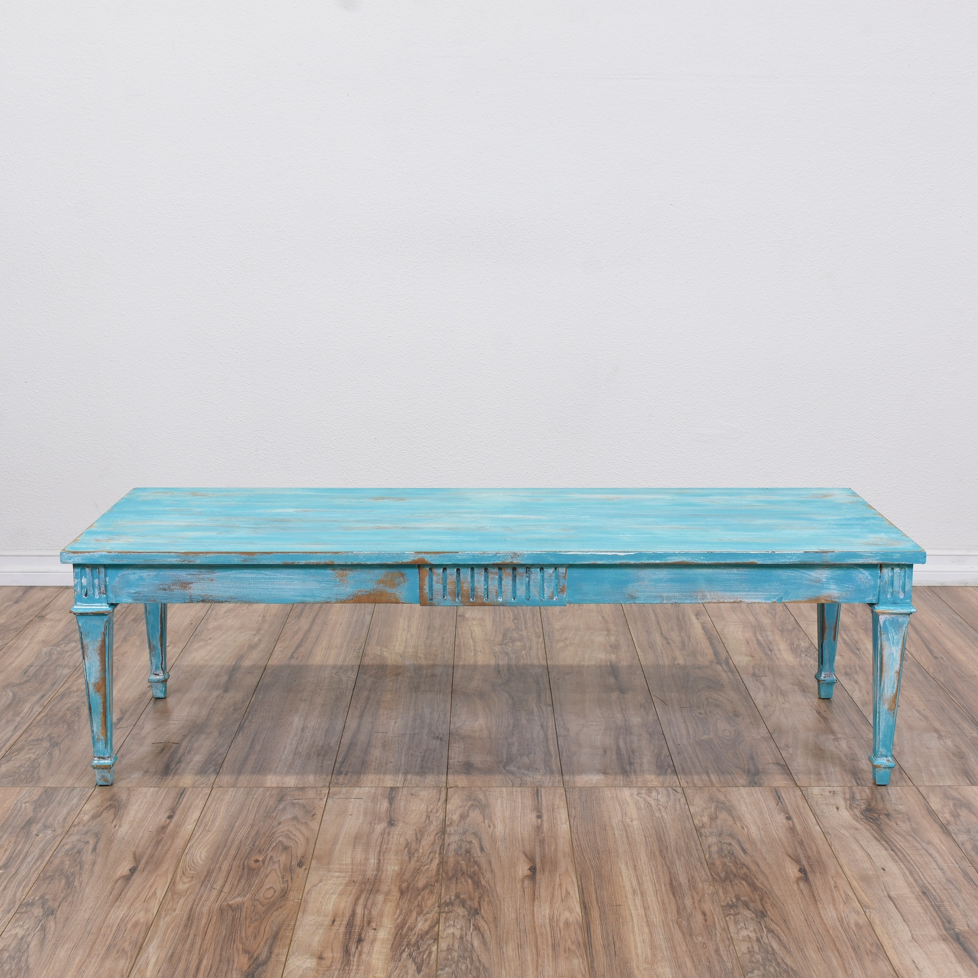 Shabby Chic Blue Carved Coffee Table Loveseat Online Auctions San Diego