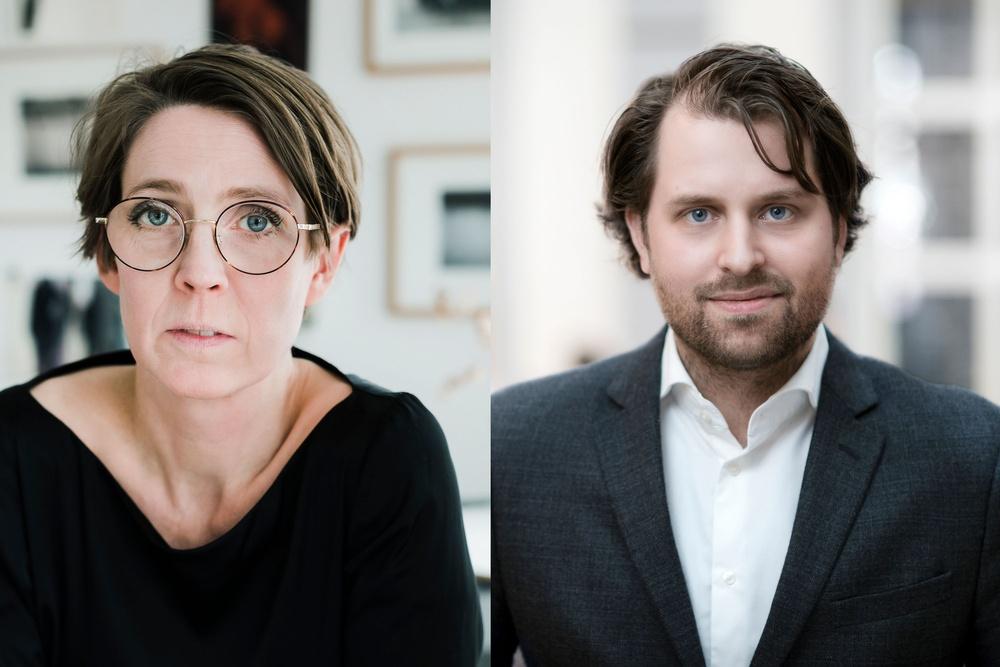 Svenska Tecknares ordförande Josefine Engström, foto: Anneli Nygårds och utredaren Erik Wikberg, foto: Nicklas Gustafsson.