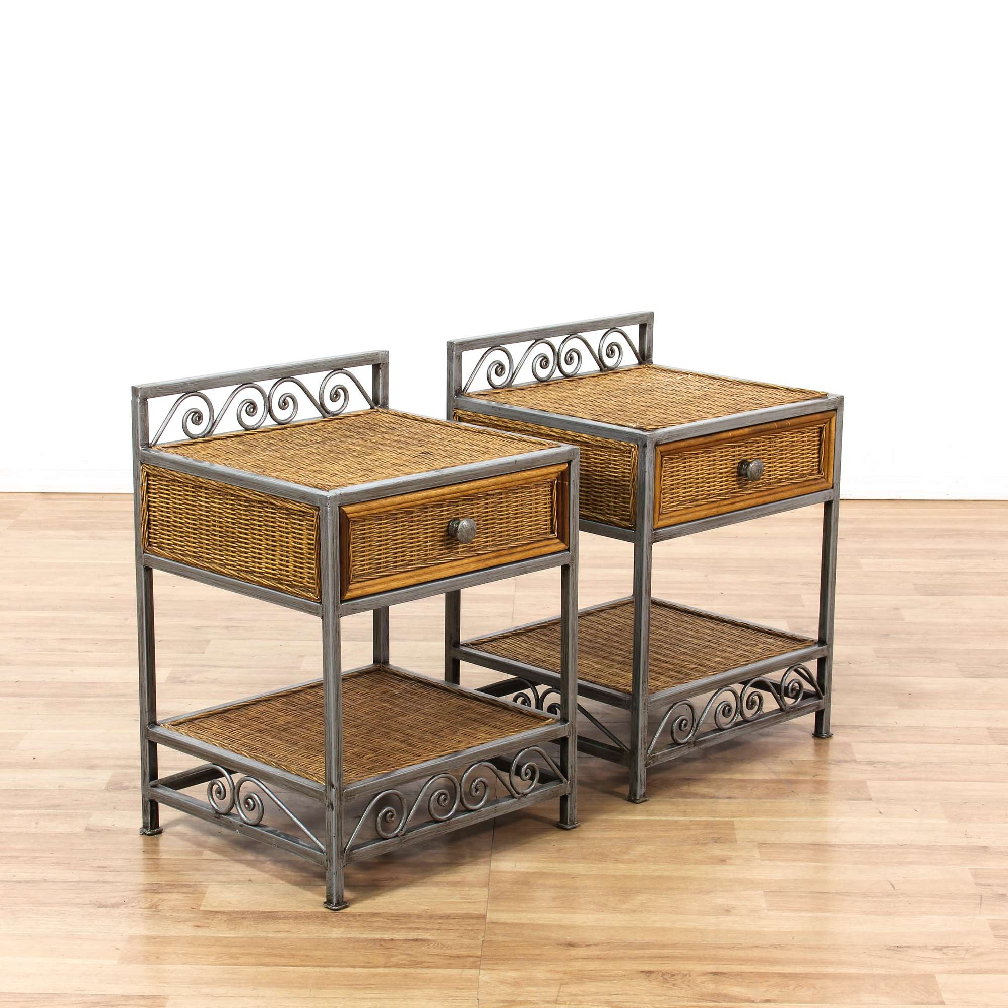 iron nightstand pair of wicker nightstands w iron base loveseat vintage 907