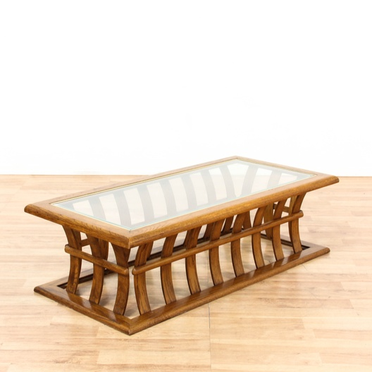 Glass Top Coffee Table W Bowed Slat Base Loveseat Vintage Furniture Los Angeles