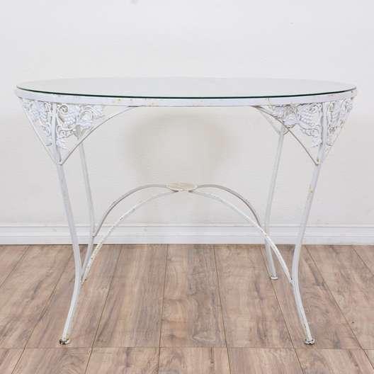 """Round """"Woodard"""" White Wrought Iron Patio Table"""