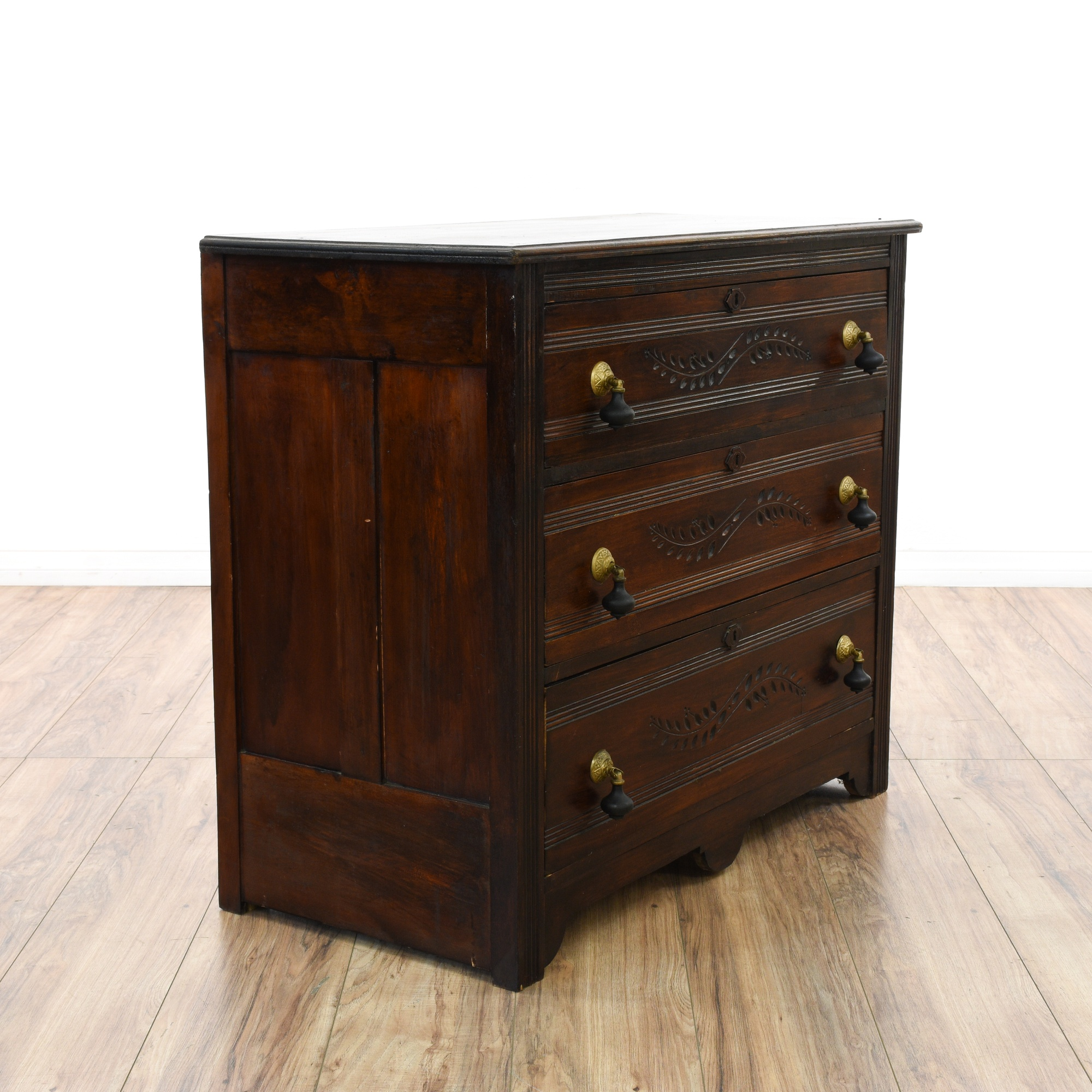 Dark Cherry Eastlake Style 3 Drawer Dresser Loveseat