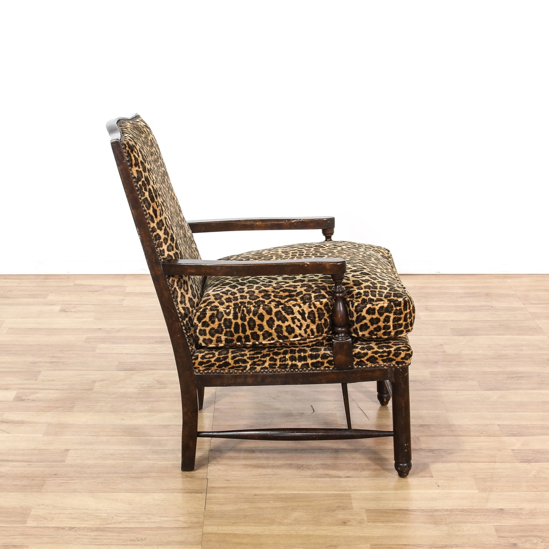 Leopard Print Carved Wood Accent Chair Loveseat Vintage Furniture San Diego Los Angeles
