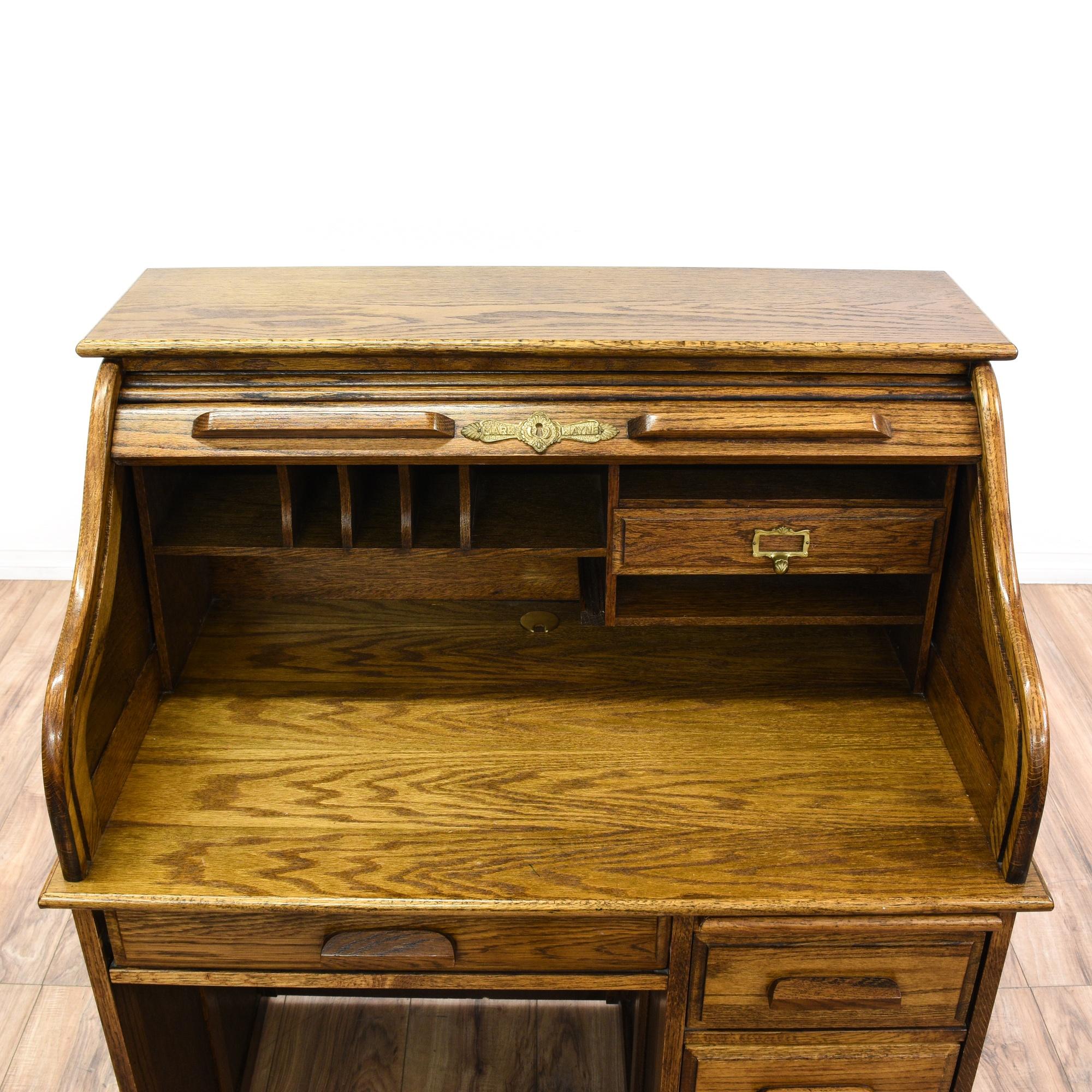 Solid Oak Roll Top Desk Loveseat Vintage Furniture San Diego Los Angeles