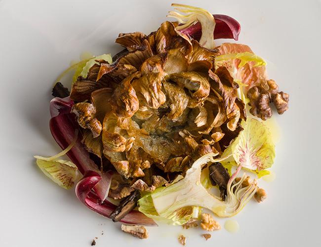 Mere: mammole artichoke, crispy pickled walnut, preserved lemon, bitter leaves