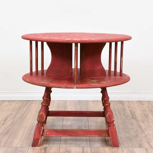 Round Red Shabby Chic Carved Table