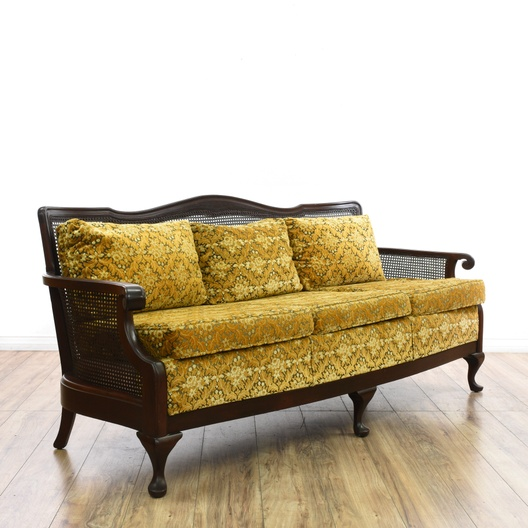 Cane Back Yellow Upholstered Sofa Loveseat Vintage