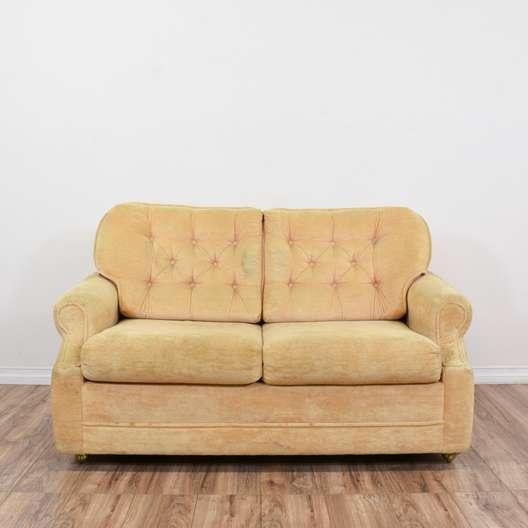 """""""Ortho"""" Tufted Peach Sleeper Loveseat Sofa"""