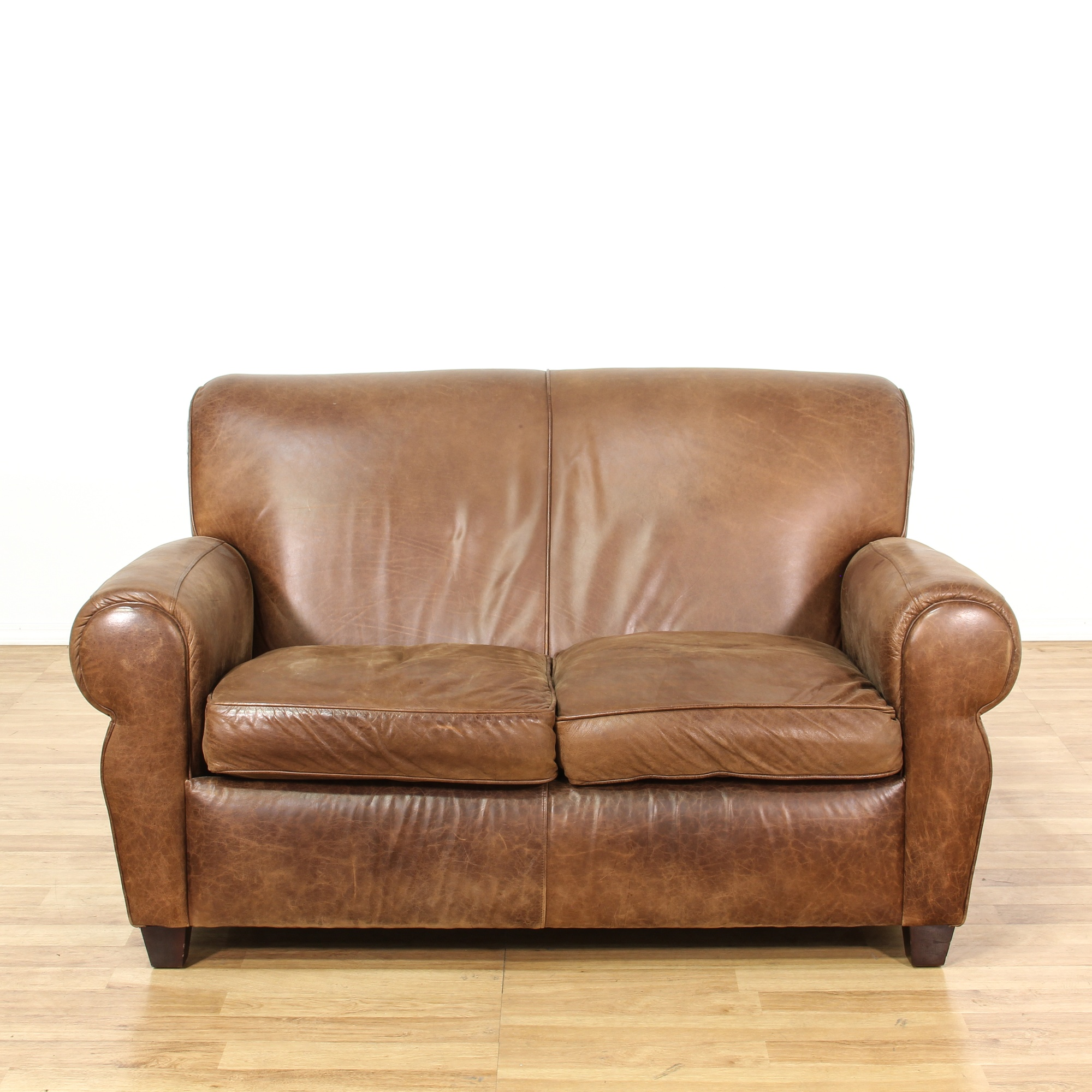 Distressed Brown Leather Loveseat Sofa