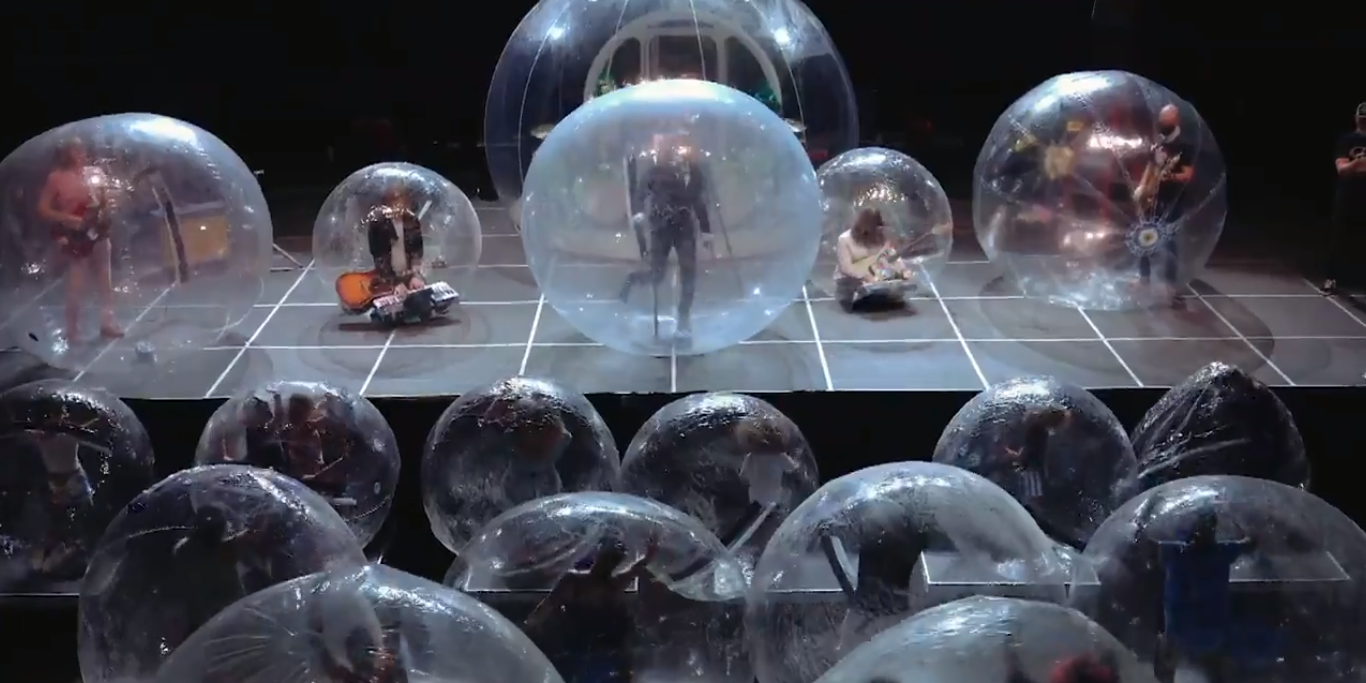 The Flaming Lips perform live in bubbles for The Late Show With Stephen Colbert