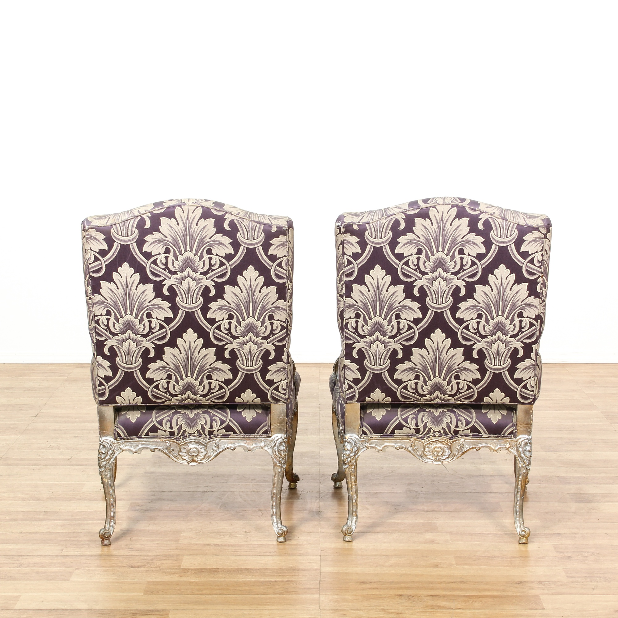 Pair Of Silver Purple French Fauteuil Chairs Loveseat Vintage Furniture San Diego Los Angeles