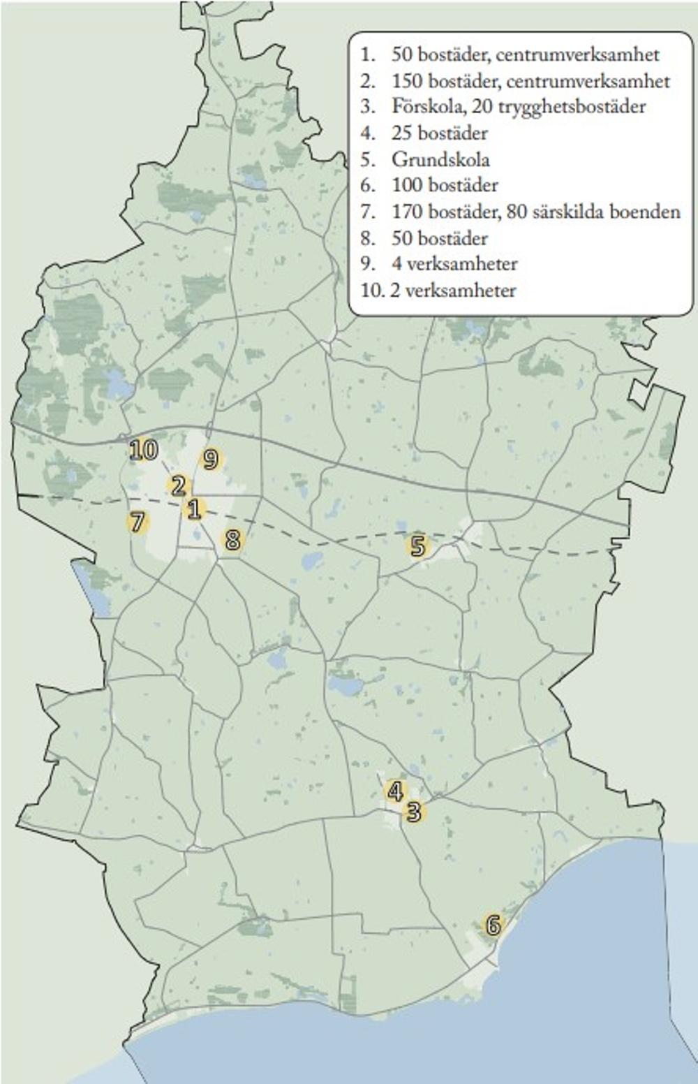Karta över Skurup med framtida byggprojekt markerade med siffror