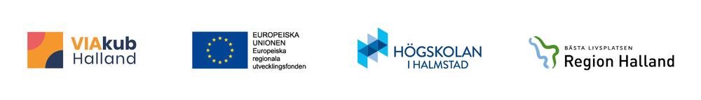 Symbolbild för VIAkub Halland, samt logotyper för EU - Europeiska regionala utvecklingsfonden, Högskolan i Halmstad och Region Halland.