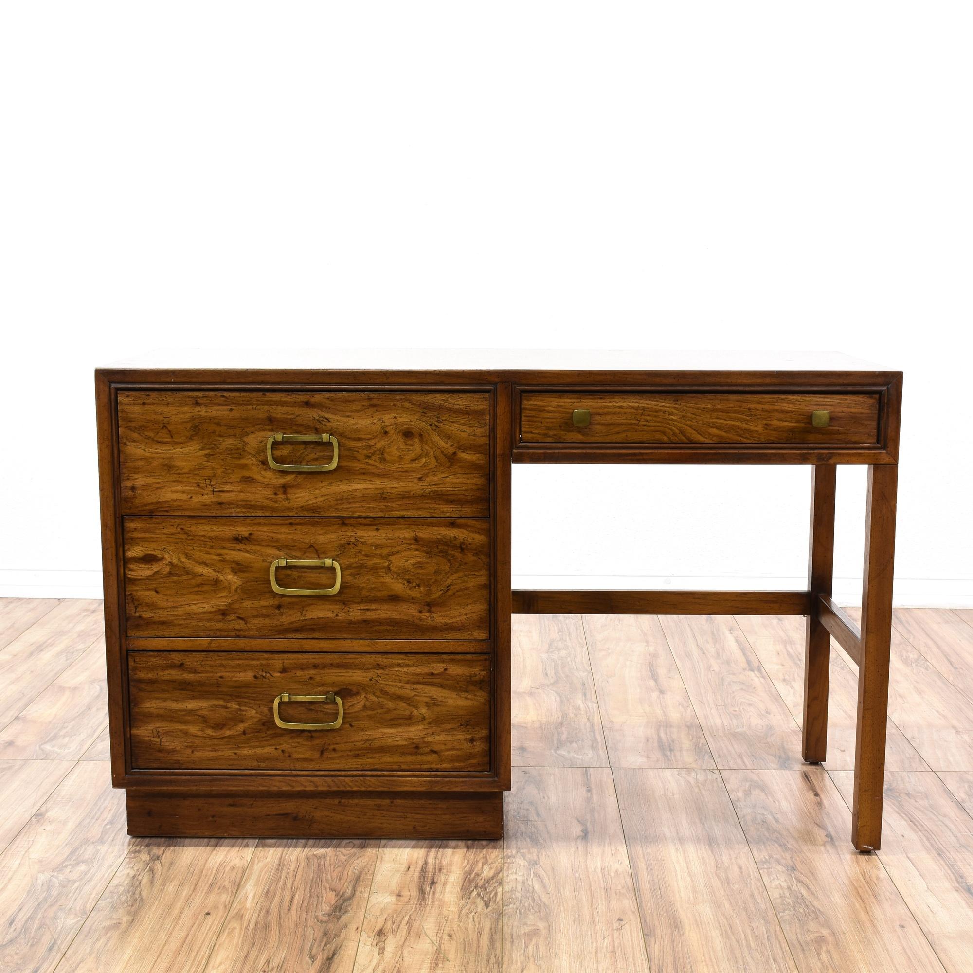 Drexel Campaign Style 4 Drawer Desk Loveseat Vintage Furniture San Go