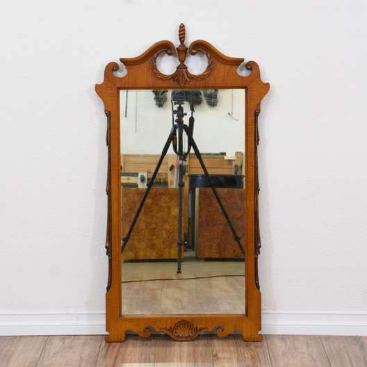 Carved Early Colonial Mirror