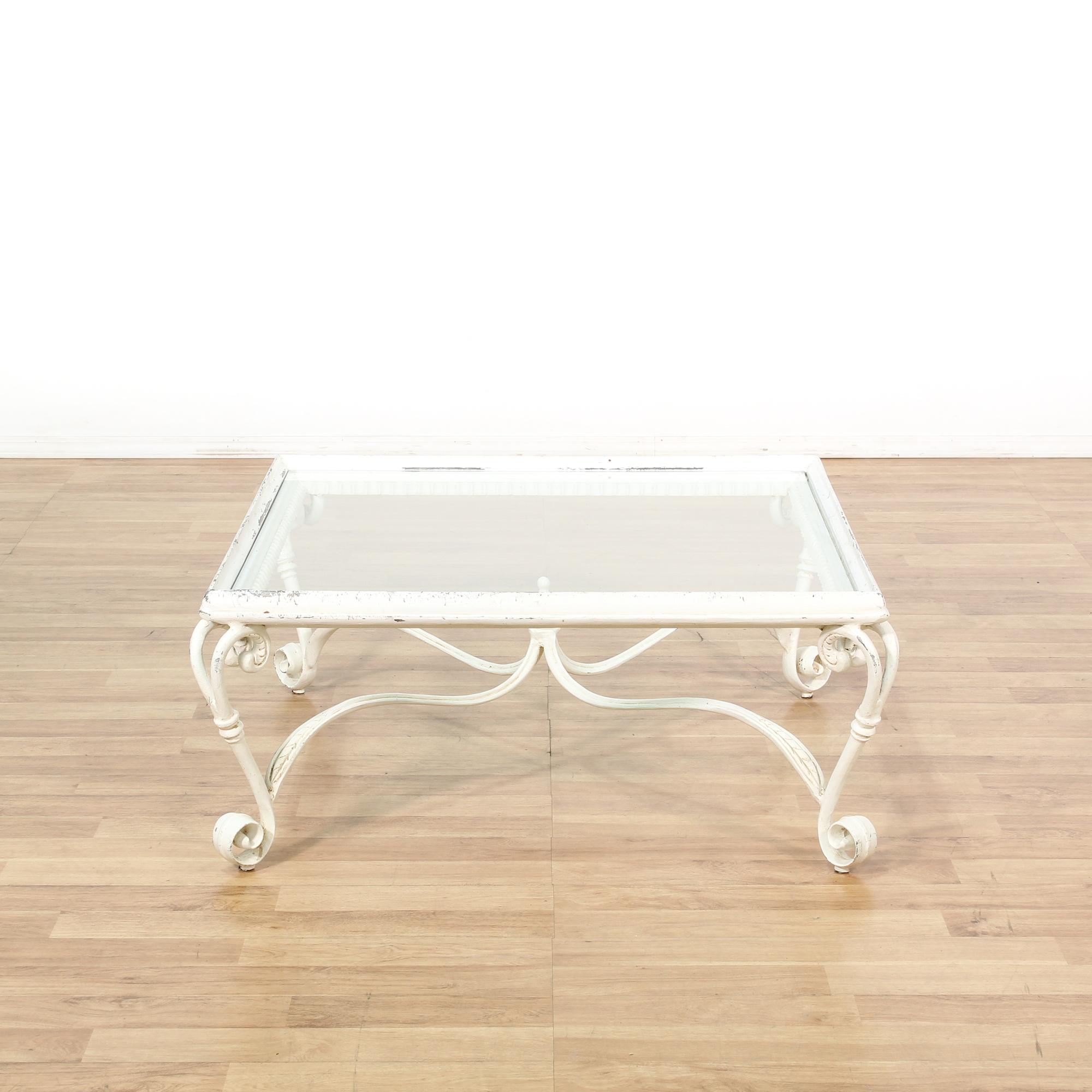 Shabby Chic Coffee Table Nz: Square Shabby Chic White Glass Top Coffee Table