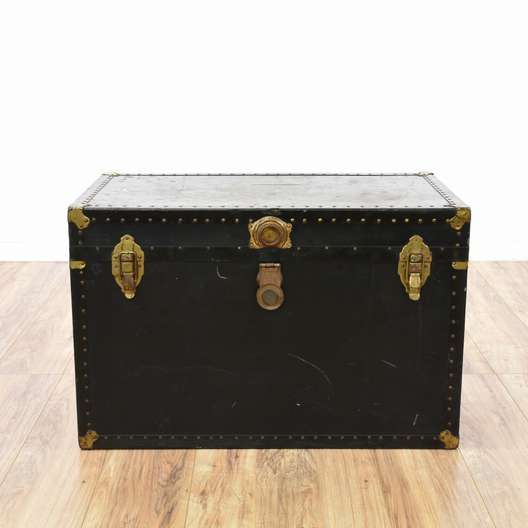 Large Black Steamer Trunk w/ Brass Accents