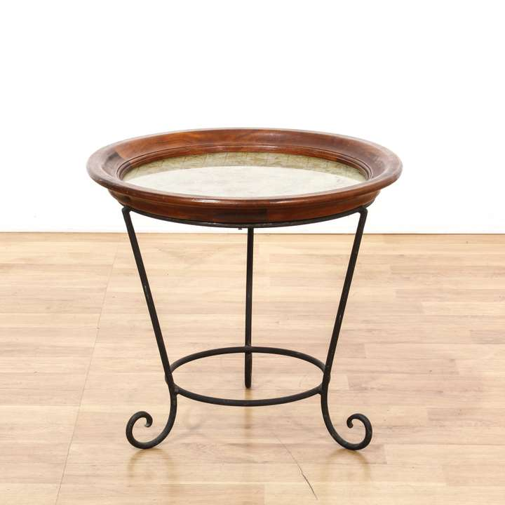 Ethan Allen Oval Glass Top Coffee Table: Pair Of White French Provincial End Tables