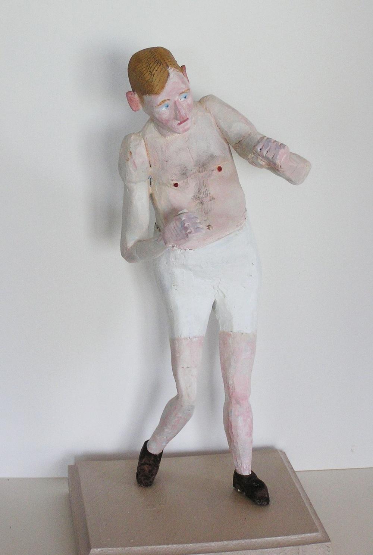 Claes Jurander Blond boxare Träskulptur, ca 2010.