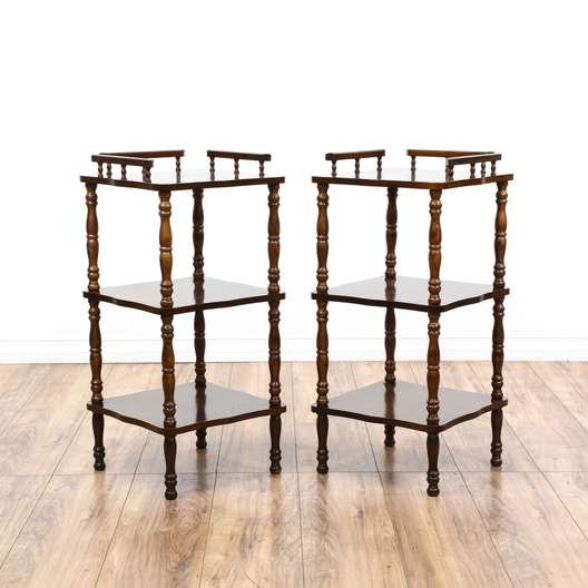 Pair of Cherry Tiered Telephone Tables