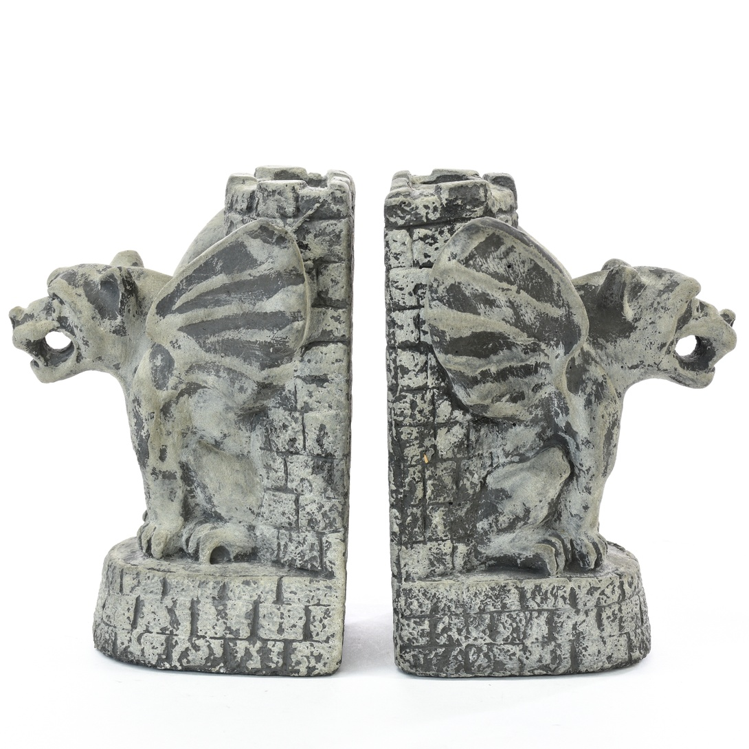 Pair of carved stone gothic gargoyle bookends loveseat vintage furniture san diego los angeles - Gothic bookends ...
