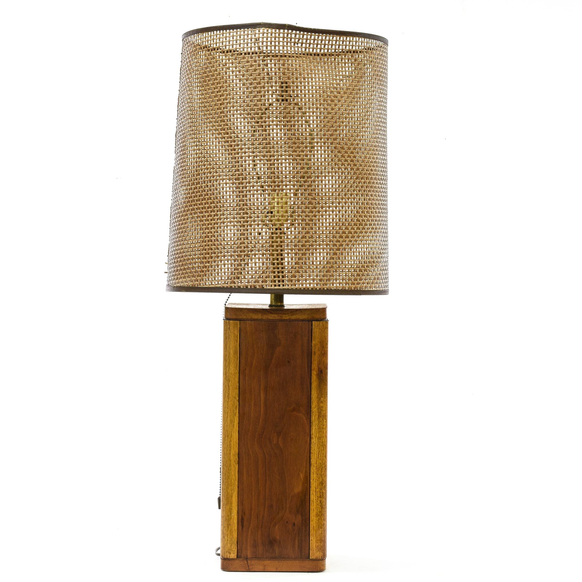 mid century wood woven shade table lamp loveseat vintage furniture san diego los angeles. Black Bedroom Furniture Sets. Home Design Ideas