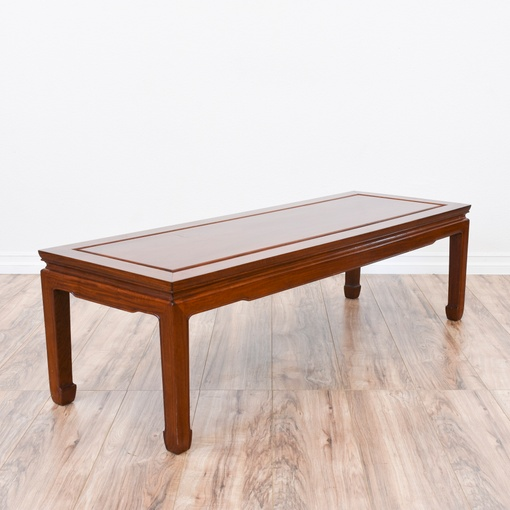 Carved Asian Inspired Teak Coffee Table