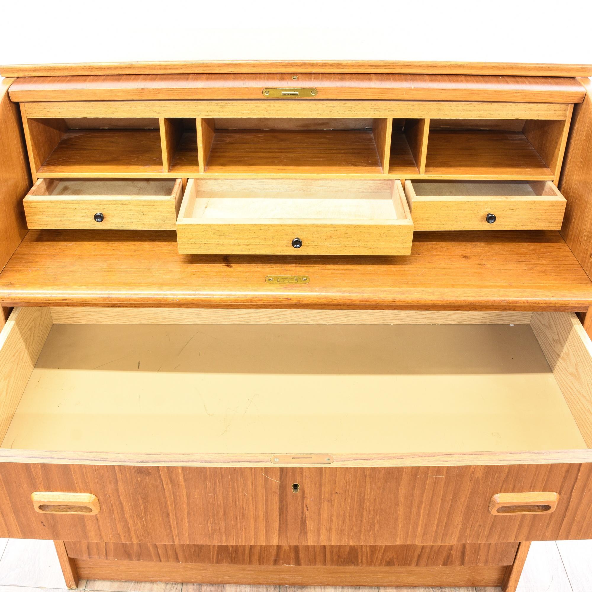 danish modern teak roll top desk dresser loveseat vintage furniture san diego los angeles. Black Bedroom Furniture Sets. Home Design Ideas