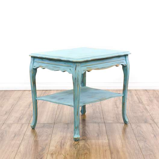 Light Blue Shabby Chic Tiered End Table