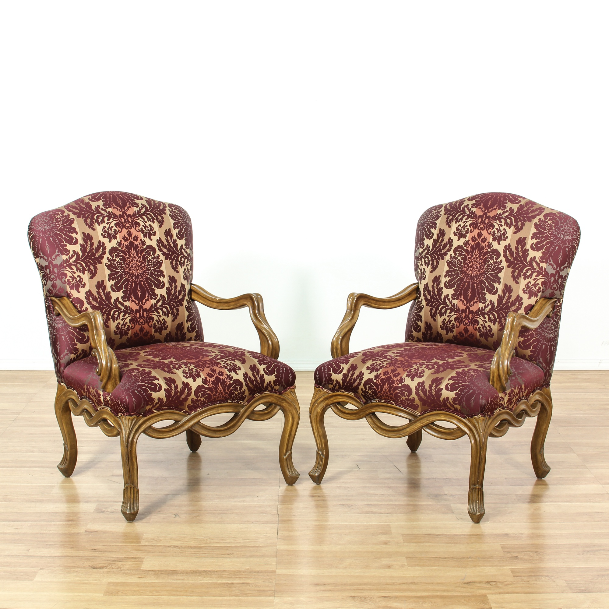 Pair Of Purple Striped Damask Accent Chairs Loveseat Vintage Furniture San Diego Los Angeles