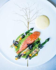 New season asparagus, cured salmon, smoked lardo and bergamot
