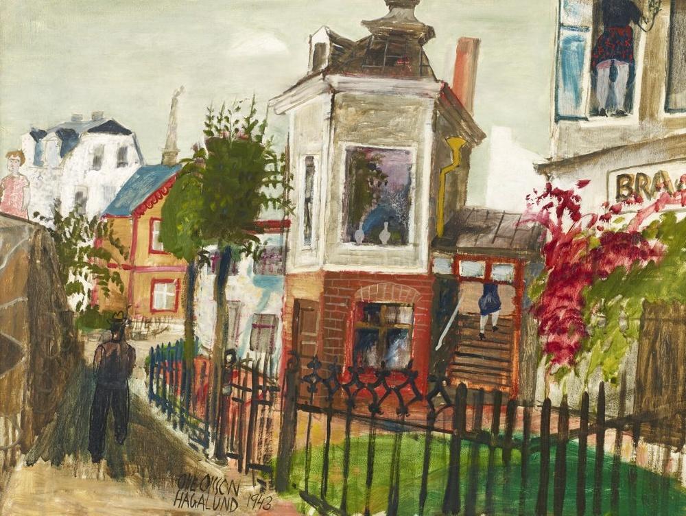 målning Olle Olsson Hagalund - Fönstren putsas