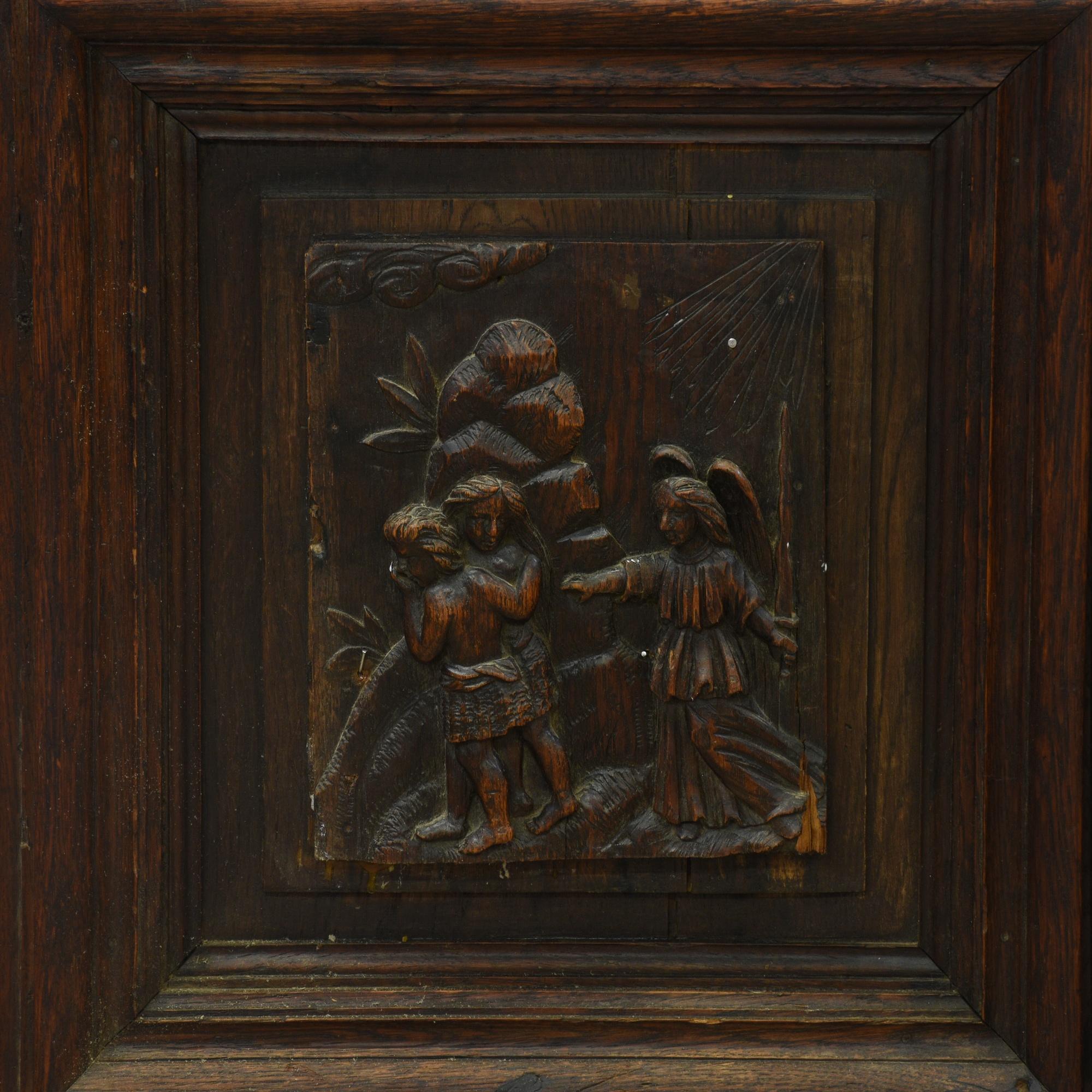 Th century dark wood carved display cabinet loveseat