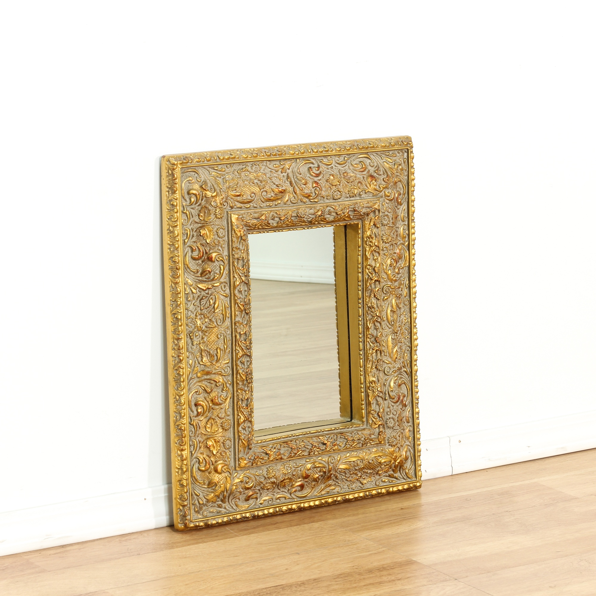 Small carved wood gold framed mirror loveseat vintage for Small gold mirror