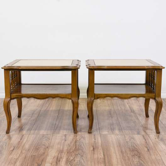 Pair of French Provincial Stone Top Side Tables
