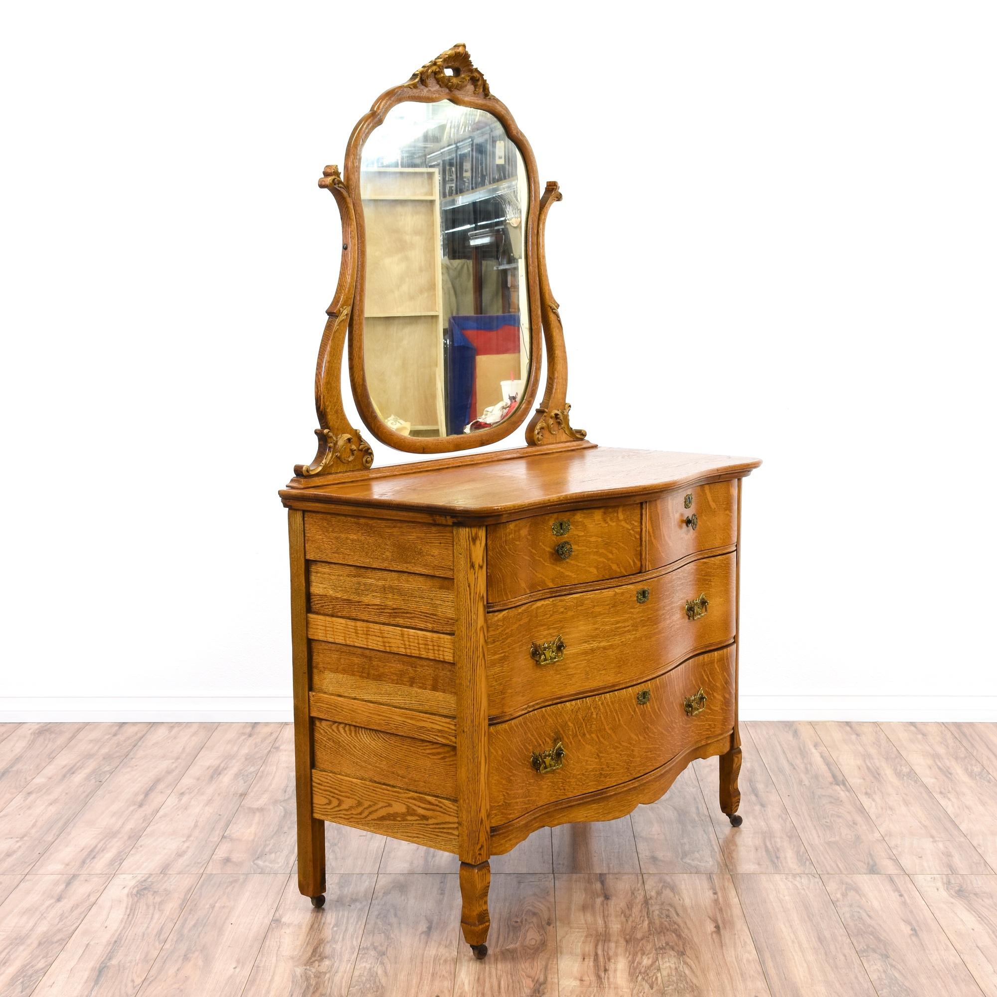 antique tiger oak dresser vanity w mirror loveseat vintage furniture san diego los angeles. Black Bedroom Furniture Sets. Home Design Ideas