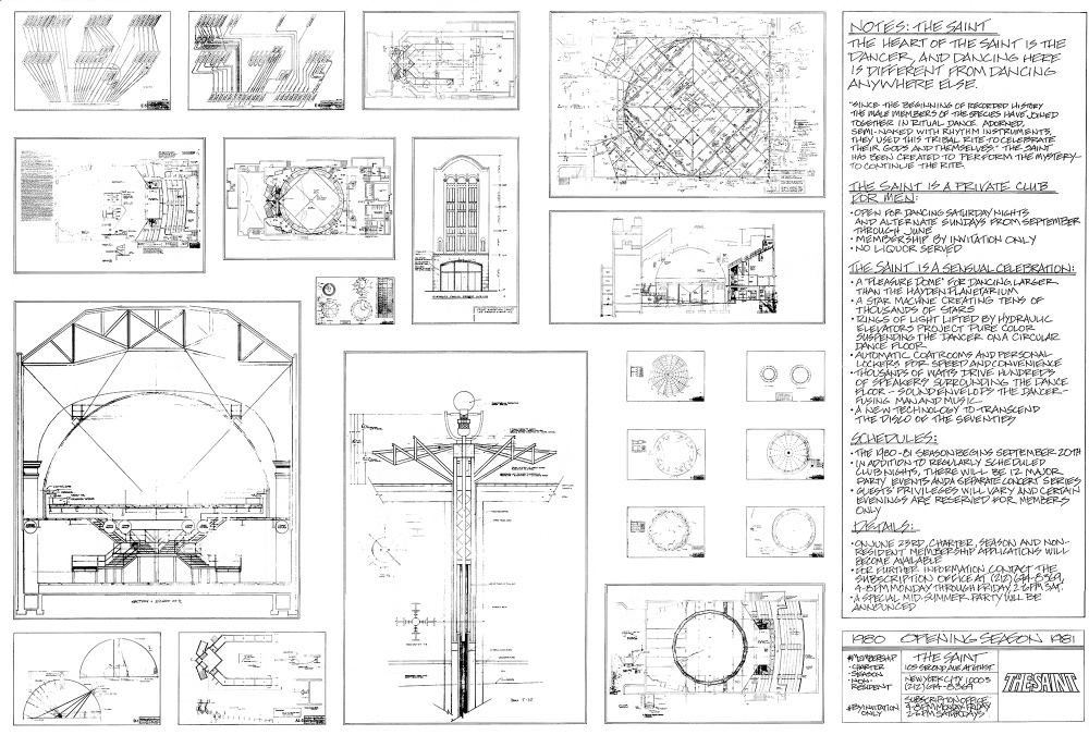 'Blueprints of The Saint (invitation to the first event)' (1980) / Charles Terrell + Bruce Mailman. Courtesy of The Saint Foundation Archives. Exhibited in 'Cruising Pavilion: Architecture, Gay Sex and Cruising Culture' in Boxen at ArkDes.