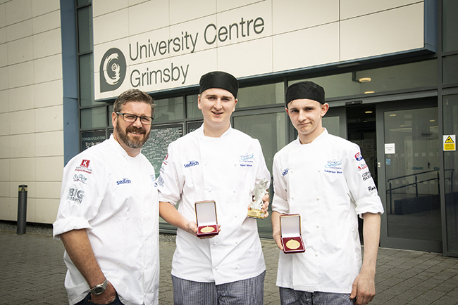 From left: judge Daniel Clifford with winning chefs Albert Hindson and Sebastian Bloor