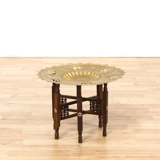 Indian Decorated Br Tray End Table Loveseat Vintage
