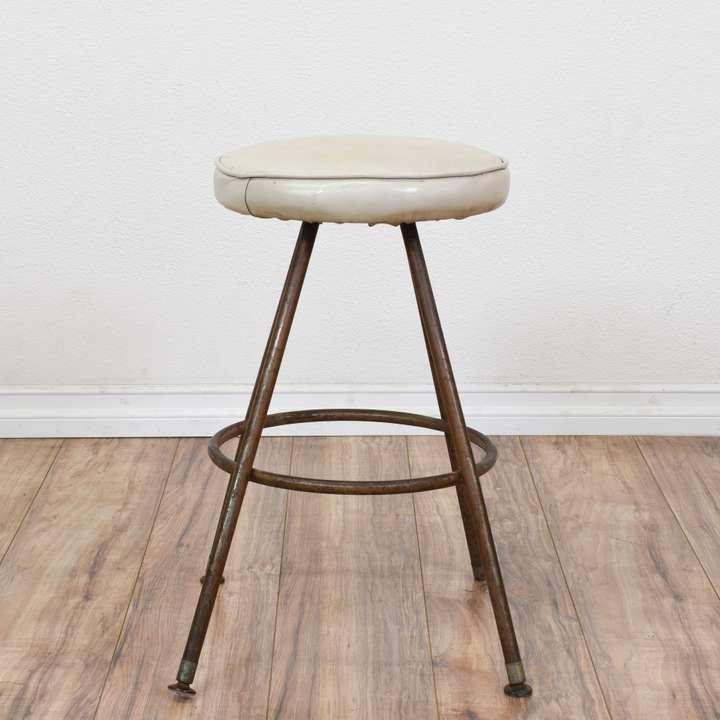 Metal Bar Stool With Leather Strip Seat Loveseat Vintage Furniture San Diego Los Angeles