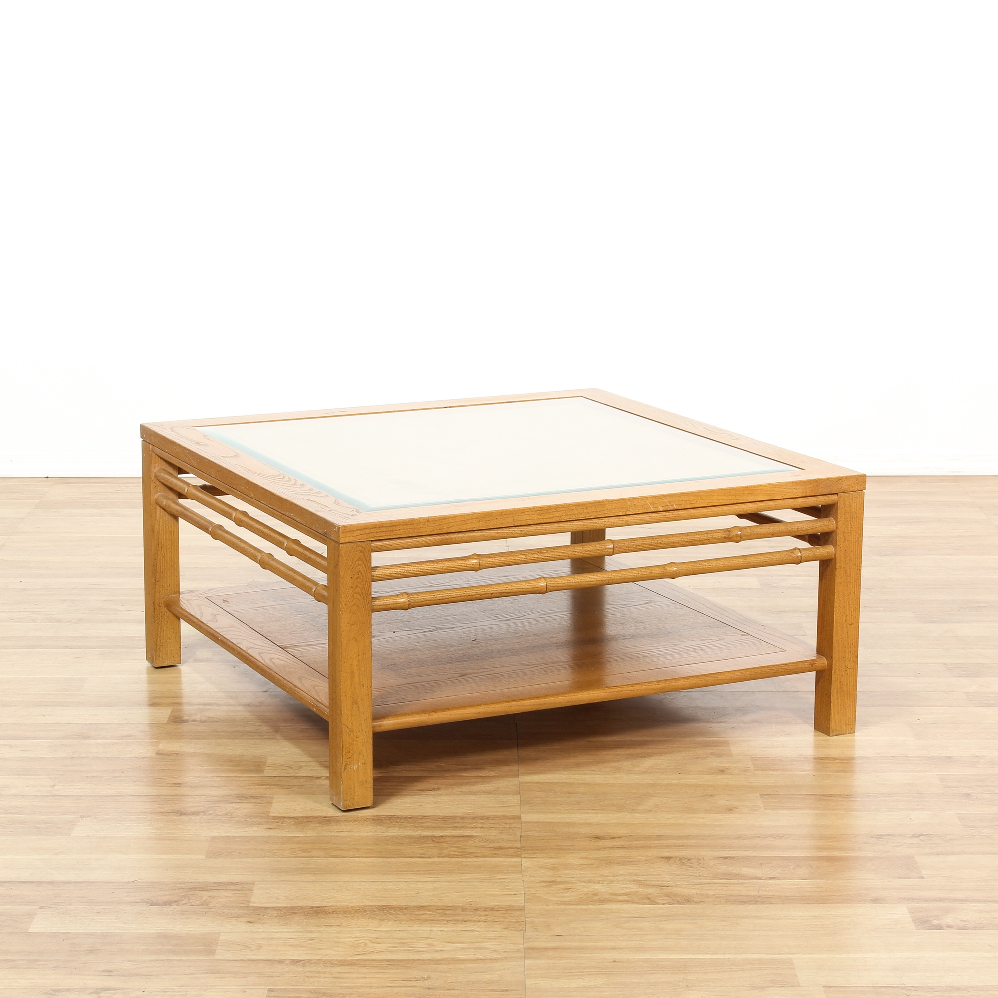Light Wood Faux Bamboo Glass Top Coffee Table Loveseat Vintage Furniture San Diego Los Angeles