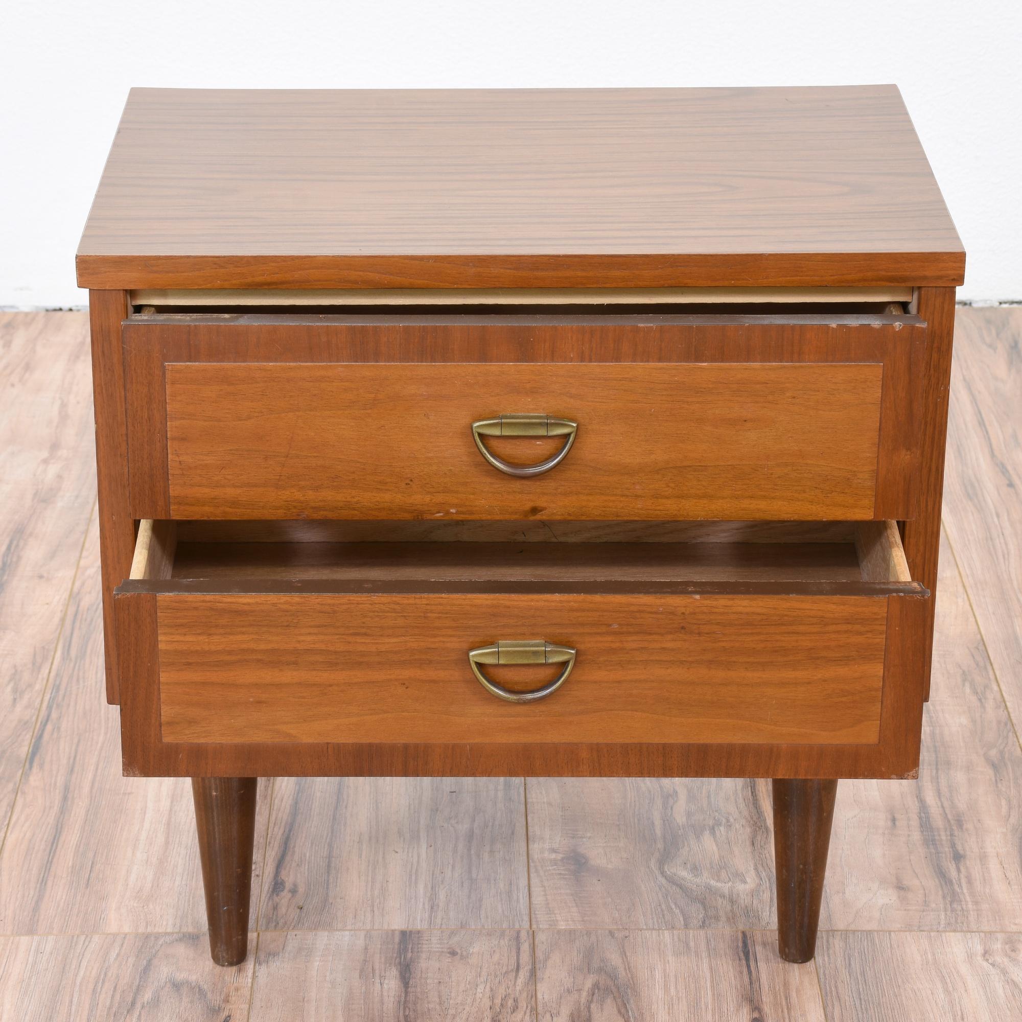 2 Drawer Mid Century Modern Nightstand | Loveseat Vintage ...