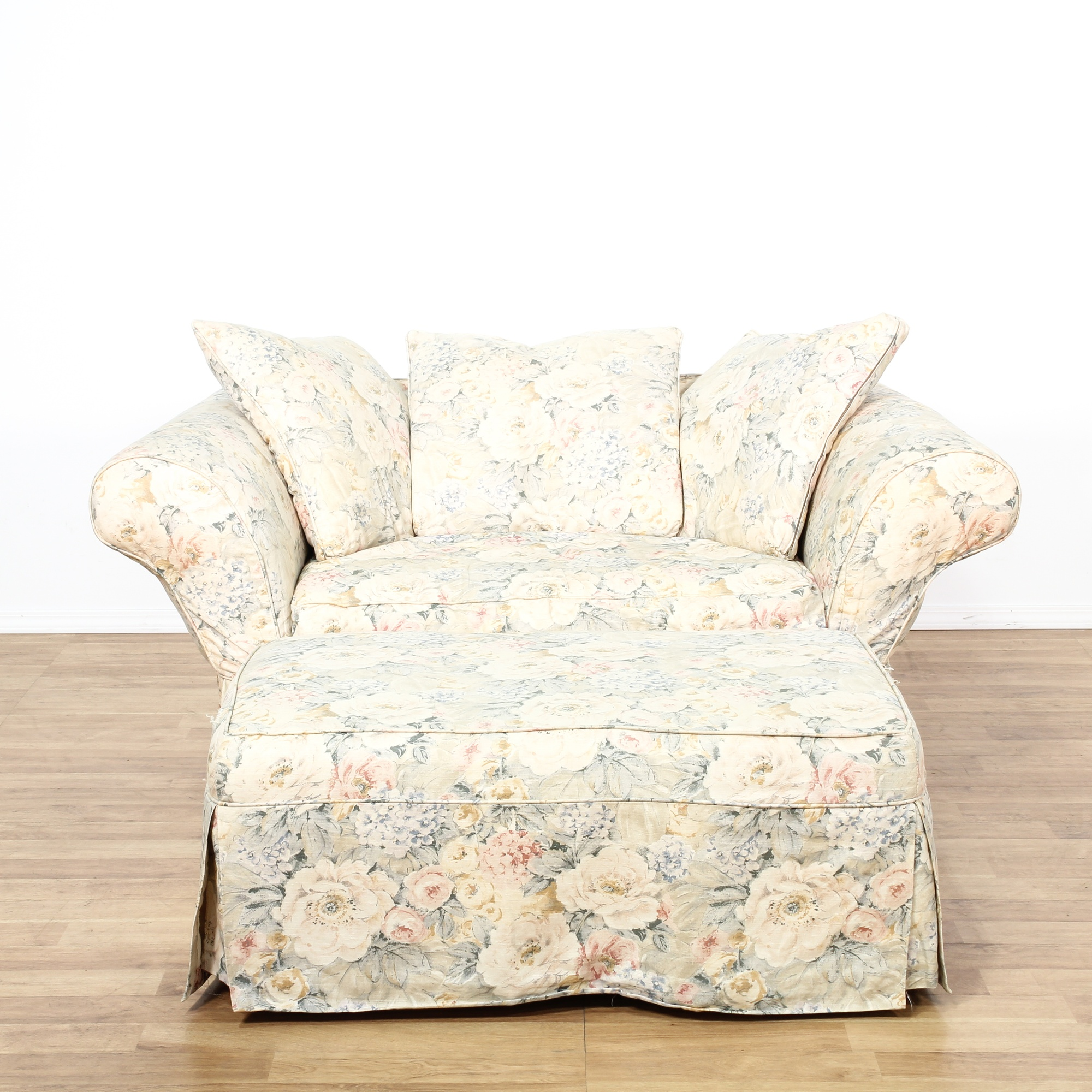 Shabby Chic Floral Chair And Ottoman Loveseat Vintage