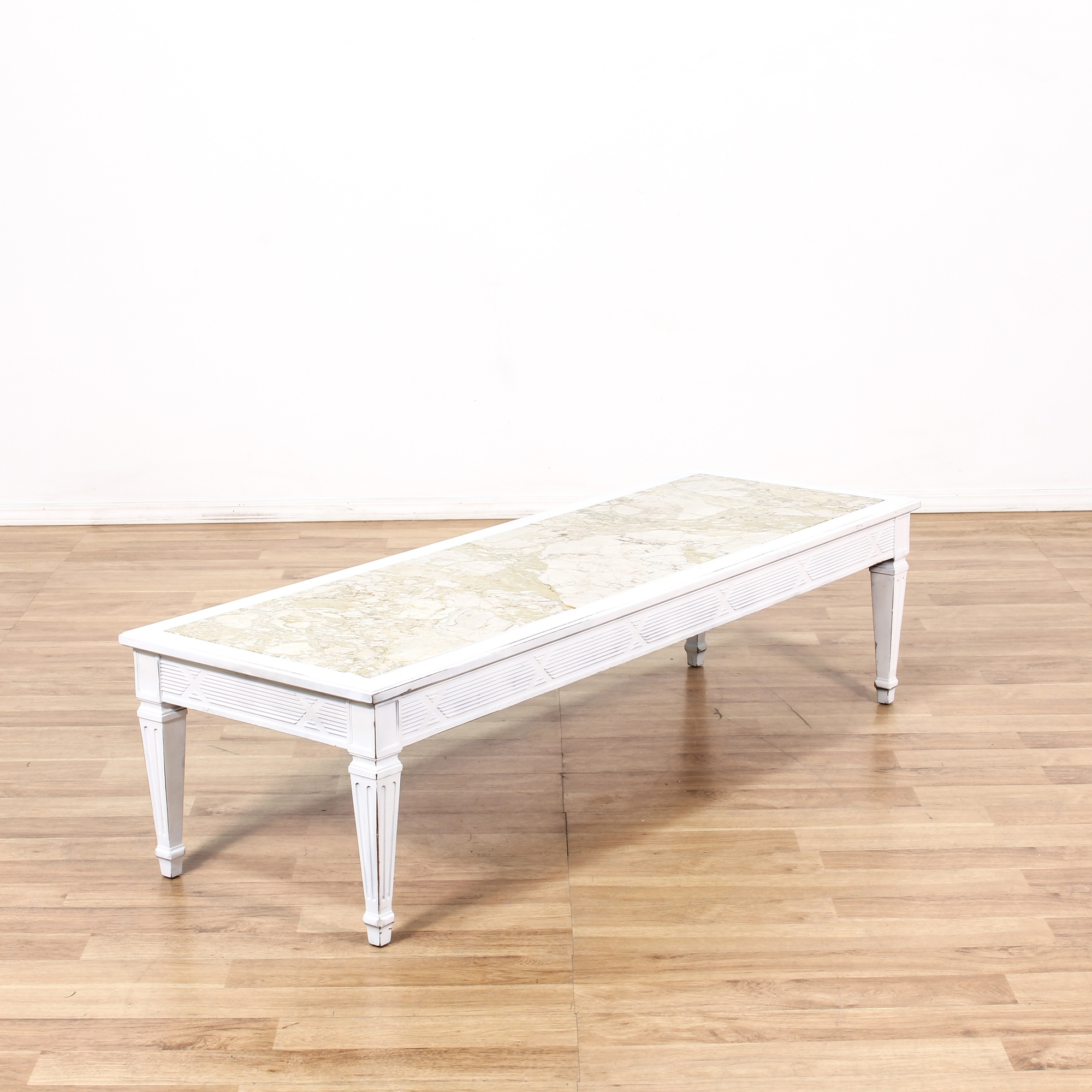 Long White Marble Top Coffee Table Loveseat Vintage Furniture San Diego Los Angeles